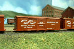The BTS Civil-war era boxcars painted and lettered for the Housatonic's boxcars in Red Line service.