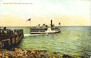 A steamer Leaves Roton Point, which is just east of Wilson's Point.  Similar ships would have served the railroad's passengers.